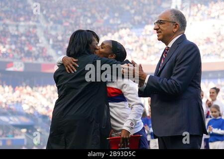HARRISON. USA. MAR 08:  Family members of Crystal Dunn of the USA celebrate her 100th cap ceremony during the 2020 SheBelieves Cup Women's International friendly football match between USA Women vs Spain Women at Red Bull Arena in Harrison, NJ, USA. ***No commericial use*** (Photo by Daniela Porcelli/SPP) - Stock Photo