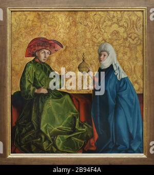 Painting 'King Solomon and the Queen of Sheba' by German Renaissance painter Konrad Witz (1435-1437) on display in the Berliner Gemäldegalerie (Berlin Picture Gallery) in Berlin, Germany. - Stock Photo