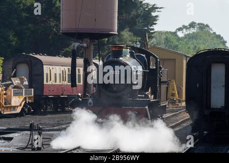 British Railways Western Region 'Manor' class 4-6-0 7822 'Foxcote Manor' at Minehead on the 'West Somerset Railway, Minehead, Somerset, England - Stock Photo