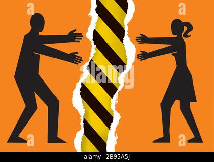 Separated couple, a dangerous relationship. Illustration of torn paper with young heterosexual couple silhouettes and under construction sign.