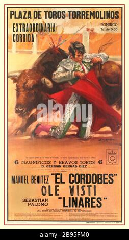 EL CORDOBES Bullfighting Poster Vintage 1970's Spanish advertising poster for a bullfight event held on the Plaza de Torros Torremolinos Andalusia Spain. Poster shows a bull rounding a kneeling Cordobes. Printed in Spain by Talleres Graficos Soler. El Cordobés, name of Manuel Benítez Pérez, also called Manolo, (born May 4, 1936), Palma del Río, Córdoba, Spain), Spanish bullfighter, the most highly paid bull fighter in history. The crudity of his technique was offset by his exceptional reflexes, courage and crowd appeal. - Stock Photo
