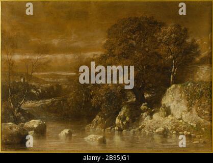wooded landscape Constant Troyon (1810-1865). 'Paysage boisé'. Fusain, pastel sur papier. Musée des Beaux-Arts de la Ville de Paris, Petit Palais. - Stock Photo
