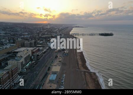 Early morning views of Brighton and hove from above during covid19 outbreak - Stock Photo