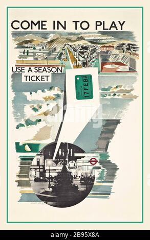 Vintage travel poster advertising London Brighton and ...
