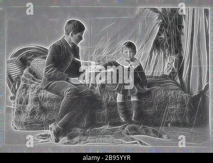 Photograph - by A.J. Campbell, Victoria, circa 1890, A studio photograph of two boys seated on a sofa. The younger boy rests his arm on what may be a games board while the older boy is looking at the board. The sofa is covered by a possum (?) skin rug., Reimagined by Gibon, design of warm cheerful glowing of brightness and light rays radiance. Classic art reinvented with a modern twist. Photography inspired by futurism, embracing dynamic energy of modern technology, movement, speed and revolutionize culture. - Stock Photo