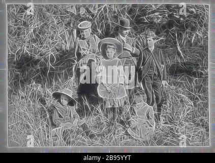 Photograph - Group in the Bush, by A.J. Campbell, Victoria, circa 1890, A man and woman with four children. The woman and the children are holding branches of wattle. The man wears a bowler hat and the boy a school cap. They are standing in bushland., Reimagined by Gibon, design of warm cheerful glowing of brightness and light rays radiance. Classic art reinvented with a modern twist. Photography inspired by futurism, embracing dynamic energy of modern technology, movement, speed and revolutionize culture. - Stock Photo