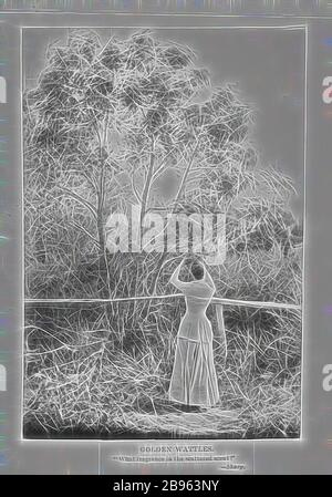 Photograph - by A.J. Campbell, Victoria, circa 1890, A woman standing by a fence picking a branch from a wattle tree., Reimagined by Gibon, design of warm cheerful glowing of brightness and light rays radiance. Classic art reinvented with a modern twist. Photography inspired by futurism, embracing dynamic energy of modern technology, movement, speed and revolutionize culture. - Stock Photo