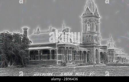 Negative - Swan Hill, Victoria, circa 1925, The hospital at Swan Hill., Reimagined by Gibon, design of warm cheerful glowing of brightness and light rays radiance. Classic art reinvented with a modern twist. Photography inspired by futurism, embracing dynamic energy of modern technology, movement, speed and revolutionize culture. - Stock Photo