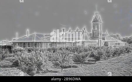 Negative - Swan Hill, Victoria, circa 1930, The Swan Hill Hospital., Reimagined by Gibon, design of warm cheerful glowing of brightness and light rays radiance. Classic art reinvented with a modern twist. Photography inspired by futurism, embracing dynamic energy of modern technology, movement, speed and revolutionize culture. - Stock Photo