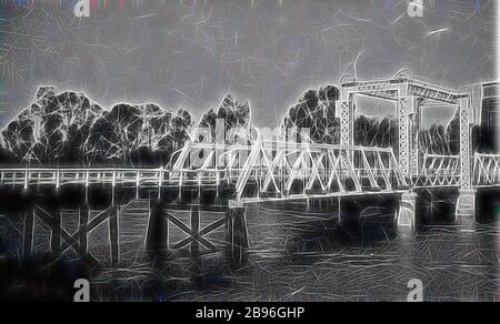 Negative - Swan Hill, Victoria, circa 1925, The bridge over the river at Swan Hill., Reimagined by Gibon, design of warm cheerful glowing of brightness and light rays radiance. Classic art reinvented with a modern twist. Photography inspired by futurism, embracing dynamic energy of modern technology, movement, speed and revolutionize culture. - Stock Photo