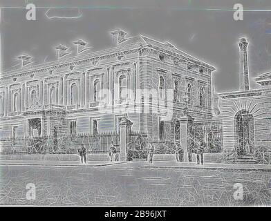 Negative - Melbourne, Victoria, circa 1885, The Royal Mint., Reimagined by Gibon, design of warm cheerful glowing of brightness and light rays radiance. Classic art reinvented with a modern twist. Photography inspired by futurism, embracing dynamic energy of modern technology, movement, speed and revolutionize culture.