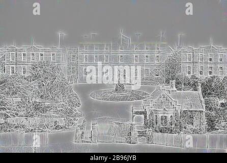 Negative - Melbourne, Victoria, circa 1885, The Melbourne Hospital and gardens., Reimagined by Gibon, design of warm cheerful glowing of brightness and light rays radiance. Classic art reinvented with a modern twist. Photography inspired by futurism, embracing dynamic energy of modern technology, movement, speed and revolutionize culture.