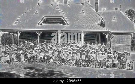 Negative - Swan Hill, Victoria, circa 1910, Pupils outside State School no 1142., Reimagined by Gibon, design of warm cheerful glowing of brightness and light rays radiance. Classic art reinvented with a modern twist. Photography inspired by futurism, embracing dynamic energy of modern technology, movement, speed and revolutionize culture. - Stock Photo