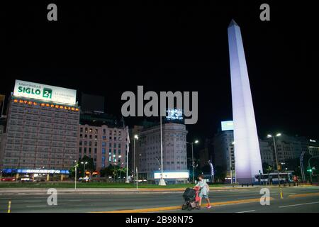 Buenos Aires, March 23, 2020 - View of the obelisk and 9 de Julio Avenue completely deserted by the measures taken by the Argentine Government to prev - Stock Photo
