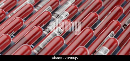 Blood test vials tubes samples abstract pattern background, outbreak pandemic test, medical blood donation concept 3d illustration - Stock Photo