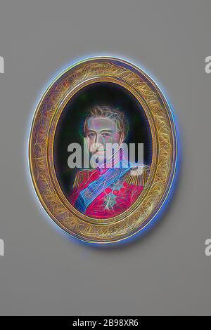Johannes Möller, King Christian VIII, King Christian VIII of Denmark, Christian VIII King of Denmark (1786-1848), painting, Gouache on ivory, Oval, Height, 13.8 cm (5.4 inches), Width, 10.5 cm (4.1 inches), Signed, Reimagined by Gibon, design of warm cheerful glowing of brightness and light rays radiance. Classic art reinvented with a modern twist. Photography inspired by futurism, embracing dynamic energy of modern technology, movement, speed and revolutionize culture. - Stock Photo
