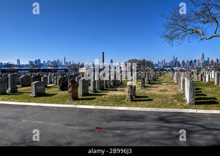 New York City - Feb 23, 2020:  Calvary Cemetery with Manhattan skyline in New York. Calvary Cemetery is a cemetery in Queens, containing more than 3 m - Stock Photo