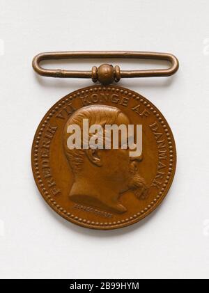 Frederick VII (1808-1863), King of Denmark (1848-1863), 1850 Alphée Dubois (1831-1805). Frédéric VII (1808-1863), roi du Danemark (1848-1863). Bronze, 1850. Paris, musée Carnavalet. - Stock Photo