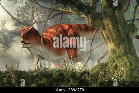 Carnotaurus was a carnivorous theropod dinosaur with horns on its head that lived in Cretaceous era South America. Here, one is depicted in a jungle. - Stock Photo