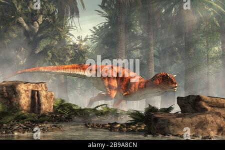 Carnotaurus was a carnivorous theropod dinosaur with horns on its head that lived in Cretaceous era South America. Here, one is depicted in a forest. - Stock Photo