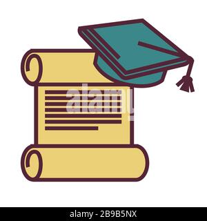 Education and knowledge, diploma and academic hat, isolated icon - Stock Photo