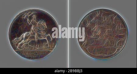 Battle of the Slaak, Silver Medal. Front: man-on-horse portrait, in background view of city above inscription. Reverse: plan of naval battle above inscription, Slaak, het, Frederik Hendrik (Prince of Orange), Anthonis Pietersz. van der Willigen, The Hague, 1631, silver (metal), striking (metalworking), d 5.7 cm × w 36.92 gr, Reimagined by Gibon, design of warm cheerful glowing of brightness and light rays radiance. Classic art reinvented with a modern twist. Photography inspired by futurism, embracing dynamic energy of modern technology, movement, speed and revolutionize culture. - Stock Photo