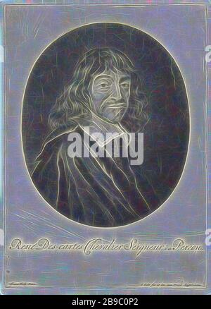 Portrait of René Descartes, René Descartes, French philosopher and mathematician, Jacob Gole (mentioned on object), Amsterdam, 1670 - 1724, paper, engraving, h 255 mm × w 180 mm, Reimagined by Gibon, design of warm cheerful glowing of brightness and light rays radiance. Classic art reinvented with a modern twist. Photography inspired by futurism, embracing dynamic energy of modern technology, movement, speed and revolutionize culture. - Stock Photo