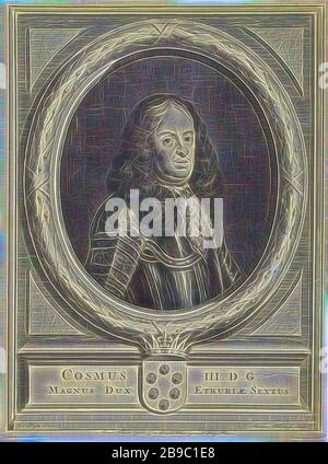 Portrait of Cosimo III de Medici, Half-length portrait to the right of Cosimo III de Medici, Grand Duke of Tuscany, wearing an armor, surrounded in an oval with a laurel wreath. At the bottom are his coat of arms with a crown and his name and title, lace, military clothing and other equipment (uniforms, cap, armor, helmet, etc.), Cosimo III de'Medici, Adriaen Haelwegh (mentioned on object), in or after 1670 - 1677, paper, engraving, h 355 mm × w 283 mm, Reimagined by Gibon, design of warm cheerful glowing of brightness and light rays radiance. Classic art reinvented with a modern twist. Photog - Stock Photo