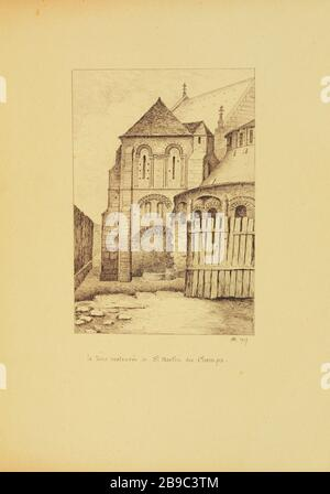 [Old Paris] The restored tower of Saint Martin des Champs, 1917 Henri Chapelle (1850-1925), dessinateur français. Le Vieux Paris. La tour restaurée de Saint Martin des Champs. Paris, (Xème arr.) 1917. Plume, encre de chine. Paris, musée Carnavalet. - Stock Photo