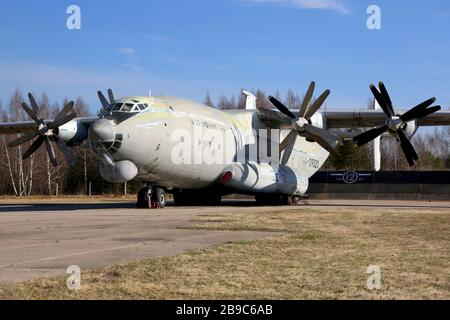 An-22 Antei military transport aircraft of the Russian Air Force at parking stand. - Stock Photo