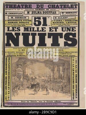 CHATELET THE ARABIAN NIGHTS Scott. 'Châtelet, Les mille et une nuits'. Lithographie, 1880-1900. Paris, musée Carnavalet. - Stock Photo