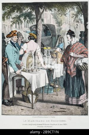 THE MERCHANT OF BUNS John-James Chalon (1778-1854). 'Le Marchand de brioches'. Gravure. Paris, musée Carnavalet. - Stock Photo