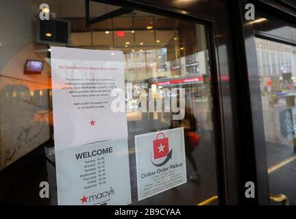 New York, USA. 23rd Mar, 2020. The Macy's store on Herald Square is temporarily closed in New York, the United States, March 23, 2020.  The number of confirmed COVID-19 cases in New York City has reached 13,119 as of Monday night local time, according to data of the Center for Systems Science and Engineering (CSSE) at Johns Hopkins University. Credit: Xinhua/Alamy Live News - Stock Photo