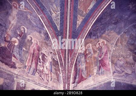 Frescoes from the 14th century in the chapel of St. John of the papal palace in Avignon. [automated translation] - Stock Photo