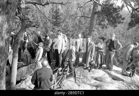 The SPD faction of the Tempelhof district assembly on a trip to the Steinwald forest in the Bavarian Upper Palatinate, 1979. [automated translation] - Stock Photo