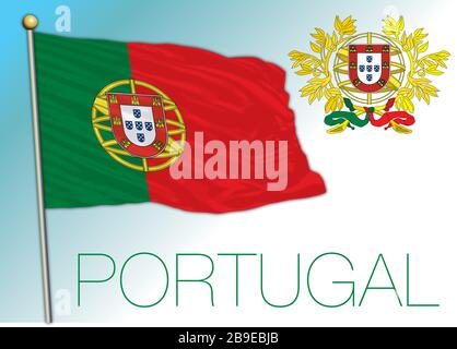 Portugal official national flag and coat of arms, European Union, vector illustration - Stock Photo
