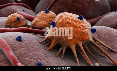 Conceptual image of a drug attacking the cancer virus. - Stock Photo