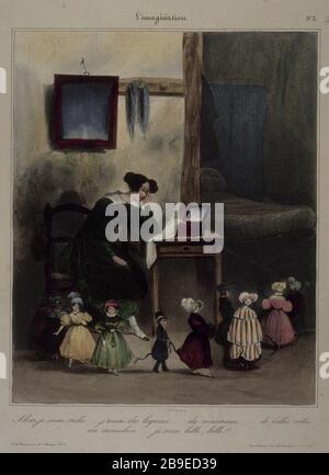 Honore Daumier - L'imagination number 3 Honoré Daumier (1808-1879). L'Imagination, numéro 3 : Alors je serai riche... j'aurai des laquais... des manteaux..., gravure. Paris, musée Carnavalet. - Stock Photo
