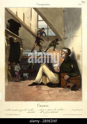 Honore Daumier - L'imagination number 8 Honoré Daumier (1808-1879). L'Imagination numéro 8 : l'avare. Gravure. Paris, musée Carnavalet. - Stock Photo