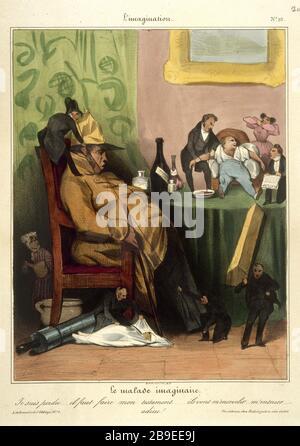 Honore Daumier - L'imagination number 10 Honoré Daumier (1808-1879). L'Imagination numéro 10 : le malade imaginaire. Gravure. Paris, musée Carnavalet. - Stock Photo