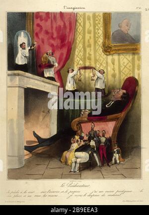 Honore Daumier - L'imagination NUMBER 13 Honoré Daumier (1808-1879). L'Imagination numéro 13 : le prédicateur. Gravure. Paris, musée Carnavalet. - Stock Photo
