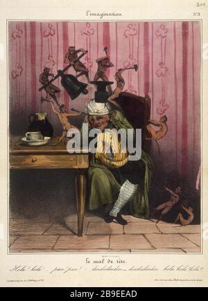 Honore Daumier - L'imagination NUMBER 9 Honoré Daumier (1808-1879). L'Imagination, numéro 9 : le mal de tête. Gravure, Paris, musée Carnavalet. - Stock Photo