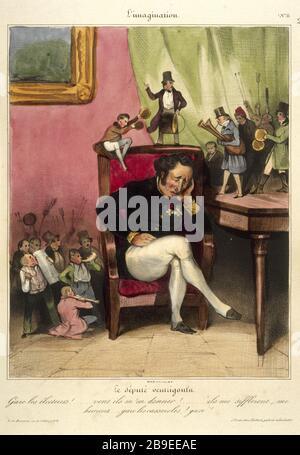 Honore Daumier - L'imagination number 11 Honoré Daumier (1808-1879). L'Imagination numéro 11 : le député ventrigoulu. Gravure. Paris, musée Carnavalet. - Stock Photo