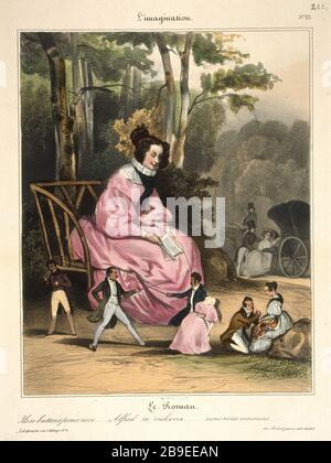 Honore Daumier - L'imagination number 12 Honoré Daumier (1808-1879). Série 'L'imagination'. Numéro 12 : 'Le Roman - ils se battent pour moi... Alfred m'enlèvera... nous nous marierons'. Gravure. Paris, musée Carnavalet. - Stock Photo