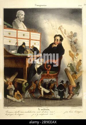 Honoré Daumier (1808-1879). Imagination, number Honoré Daumier (1808-1879). L'Imagination, numéro 15 : le médecin. Gravure. Paris, musée Carnavalet. - Stock Photo
