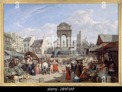 THE MARKET AND THE FOUNTAIN OF INNOCENT John-James Chalon (1778-1854). 'Le marché et la fontaine des Innocents'. Huile sur toile, 1822. Paris, musée Carnavalet. - Stock Photo
