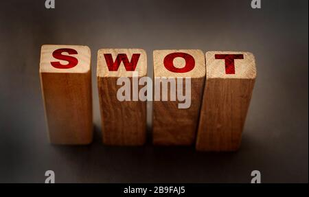 the word SWOT written in wooden block letters. Business starup analysis - Stock Photo