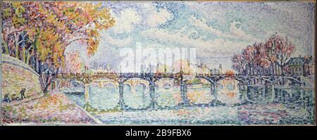 The bridge of Arts Paul Signac (1863-1935). 'Le pont des Arts'. Huile sur toile, 1928. Paris, musée Carnavalet. - Stock Photo
