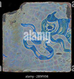 Loose tile from tableau 'Hoop' with image bird of prey with hood, tile picture footage fragment ceramic pottery glaze tin glaze hw 12.8, shaped baked baked glazed painted baked Loose tile from tableau with monochrome decor in blue Originating from the 'Hope' tableau head of bird of prey with hood (falcon?). Ribbons on the roof live Hope