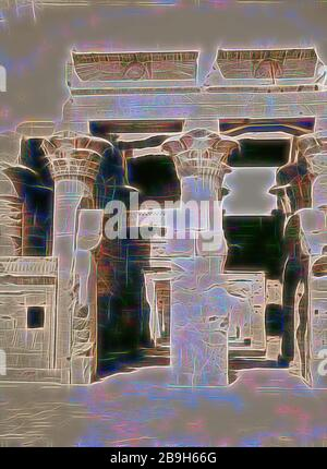 Egyptian views; Kom-Ombo. Great hypostyle hall of Temple of Sobk and Horoeris. 1900, Egypt - Stock Photo